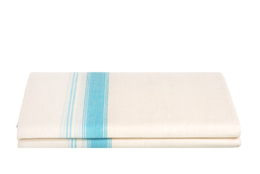 Kerala Handloom Off-White Dhoti With Sky Blue Stripe (200x130 cm) - weaveskart.com - LAW India (looms & weaves)