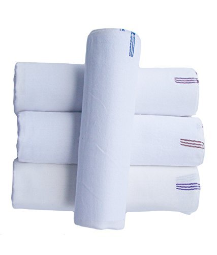 3 Handwoven White Bath Towels (54x24 Inch)