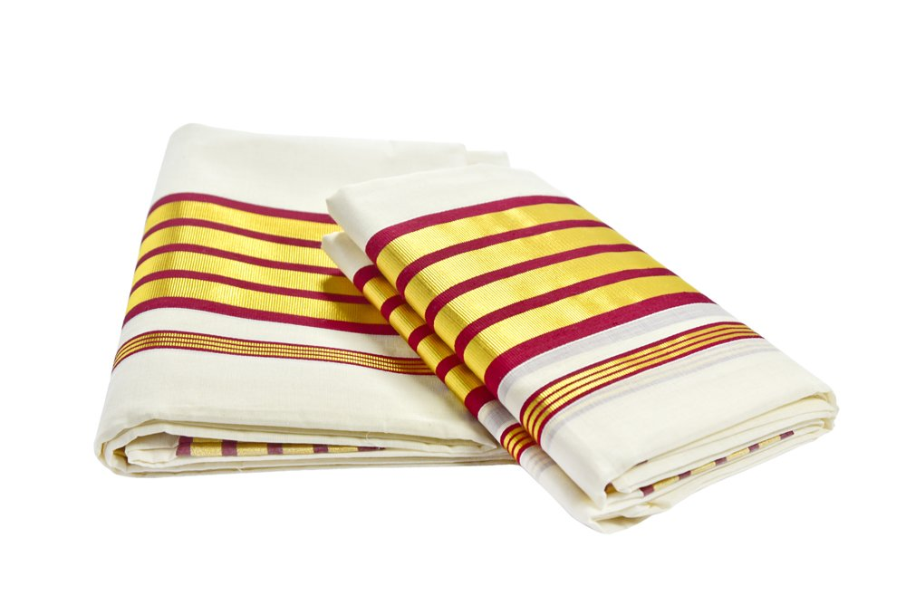 Kerala Handloom Set Mundu - weaveskart.com - LAW India (looms & weaves)