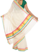 Load image into Gallery viewer, Kerala Handloom Gold & Multicolour Kasavu Saree - weaveskart.com - LAW India (looms & weaves)