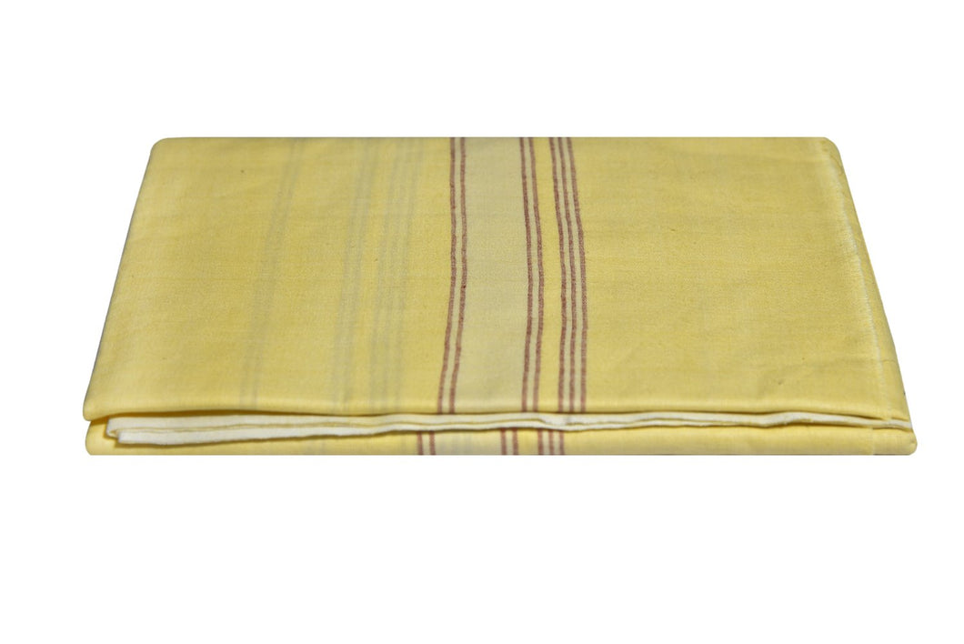 Kerala Handloom Yellow Lungi With Multicolour Stripe (194 x 127 cm) - weaveskart.com - LAW India (looms & weaves)