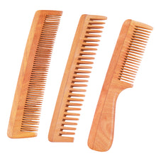 Load image into Gallery viewer, Neem Wood Combs (Set of 3) – UNISEX (Anti-Bacterial & Anti-Fungal)
