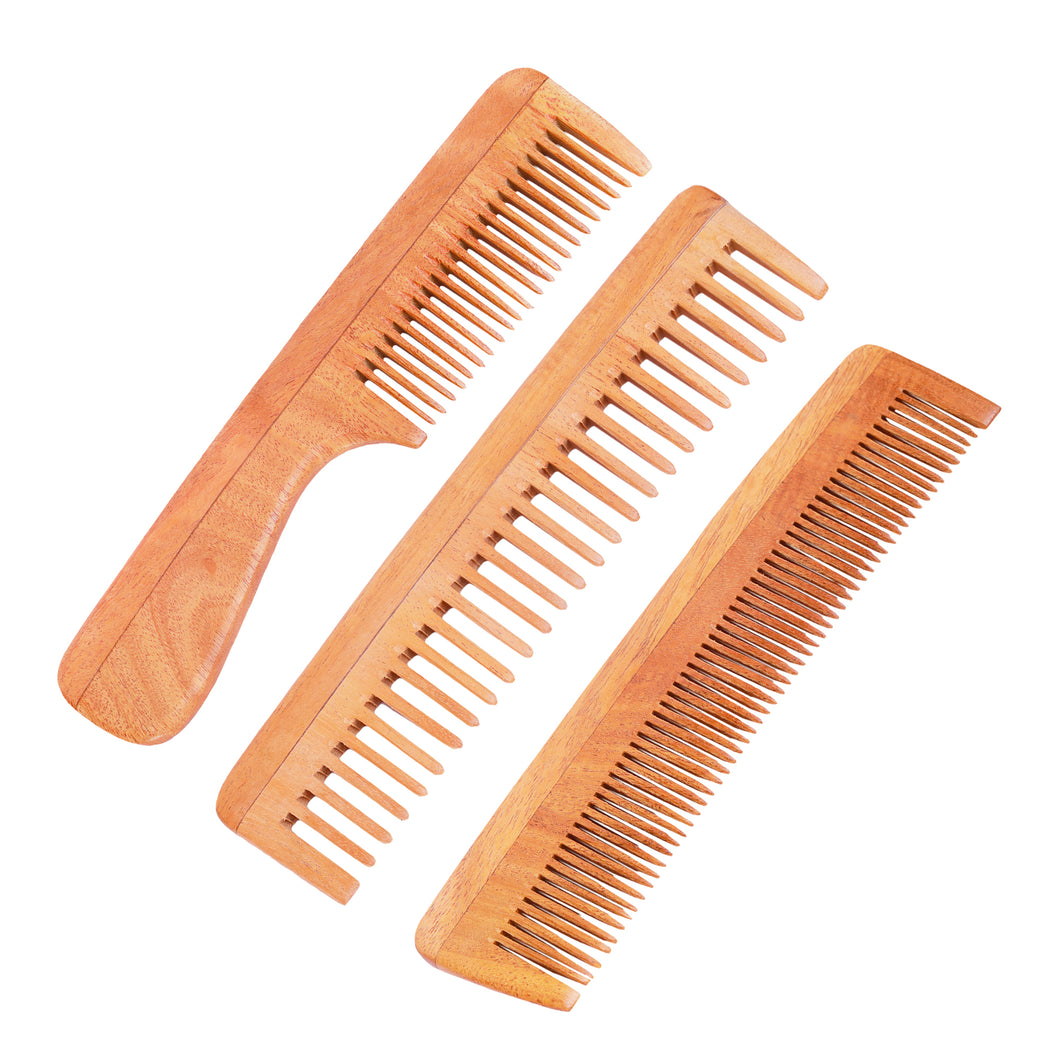 Neem Wood Combs (Set of 2 combs) – UNISEX (Anti-Bacterial & Anti-Fungal)