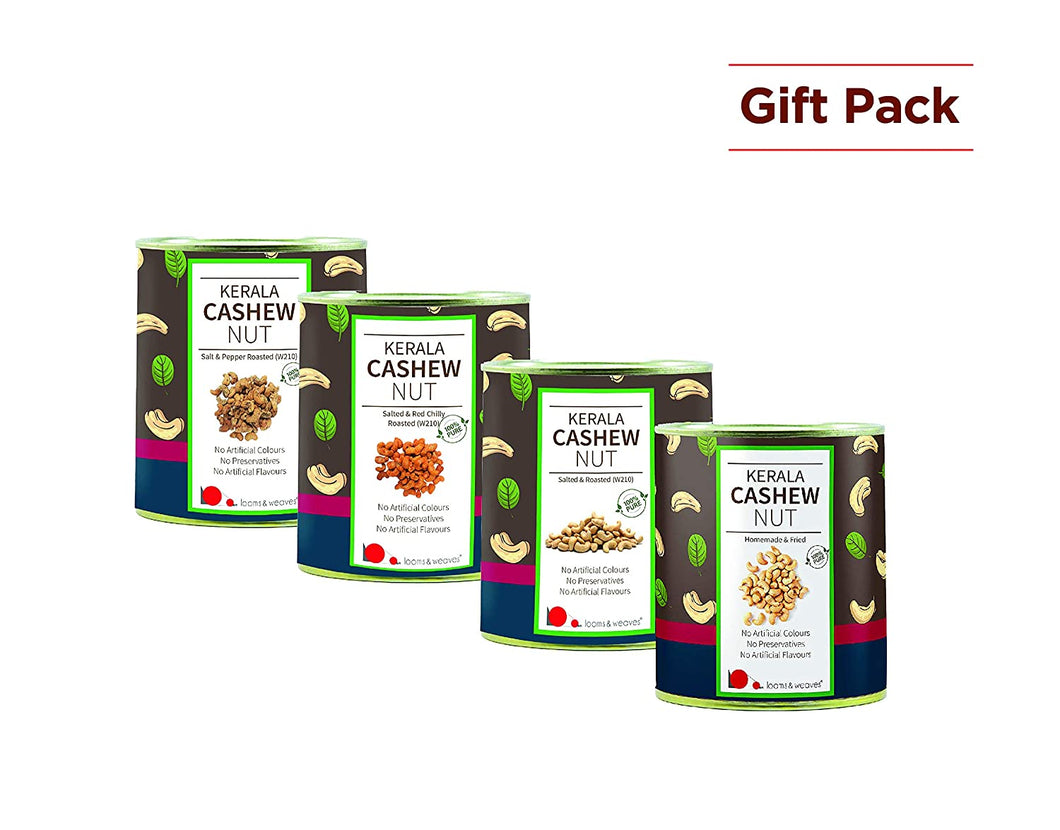 Special Gift Pack of Kerala Cashews - (500 gm Each) - Unroasted, Salted and Roasted, Roasted & Chilly and Roasted & Pepper - weaveskart.com - LAW India (looms & weaves)