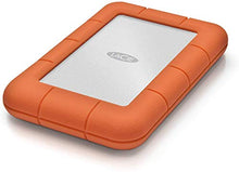 Load image into Gallery viewer, LaCie Rugged Mini 2 TB External Hard Drive Portable HDD – USB 3.0 USB 2.0 Compatible, Drop Shock Dust Rain Resistant Shuttle Drive, for Mac and PC Computer Desktop Workstation PC Laptop (LAC9000298)