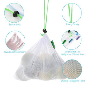 Esonmus 12pcs Reusable Mesh Produce Bags Washable Reusable Eco Friendly Bags Shopping Bags For Fruit Vegetable Toys