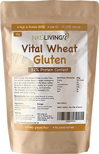 Vital Wheat Gluten 1kg by NKD Living with 82% Protein Content
