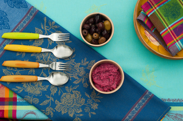blue french linen tablecloth setting