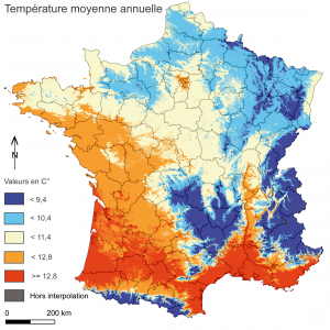 French weather, temperatures map