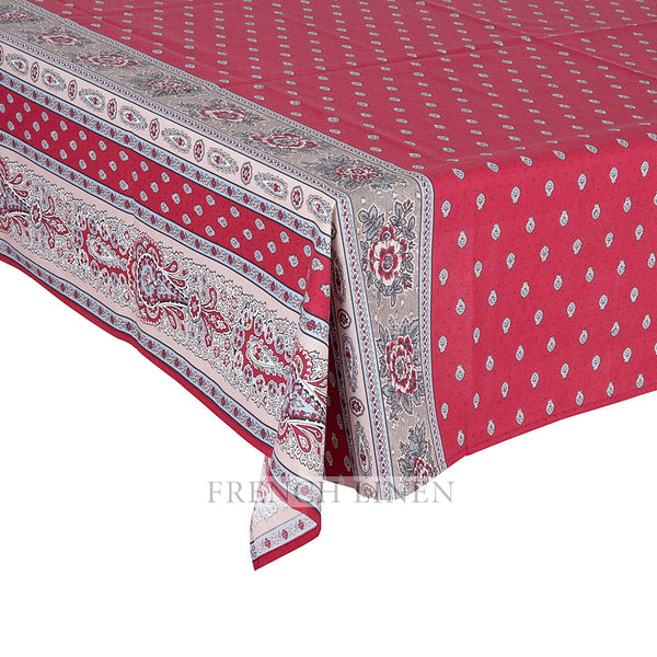 """Bastide Double Border"" Square COATED Cotton Tablecloth"