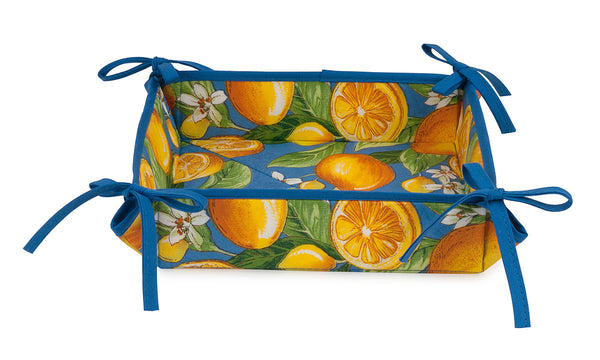 french linen cotton tidy box with lemon design in blue