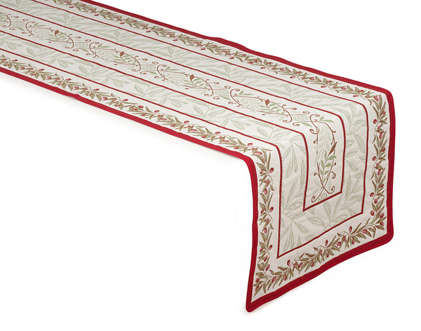 french linen table runner in ecru and red