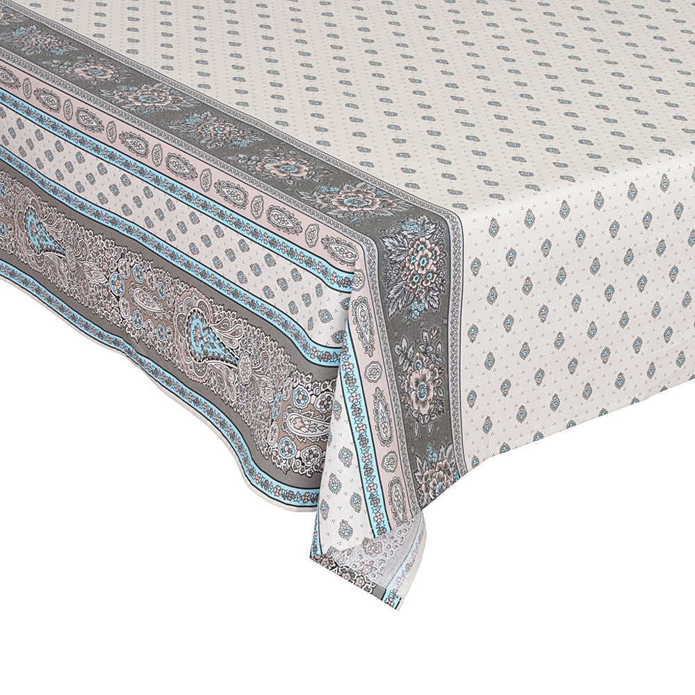 """Bastide Double Border"" Rectangle COATED Cotton Tablecloth"