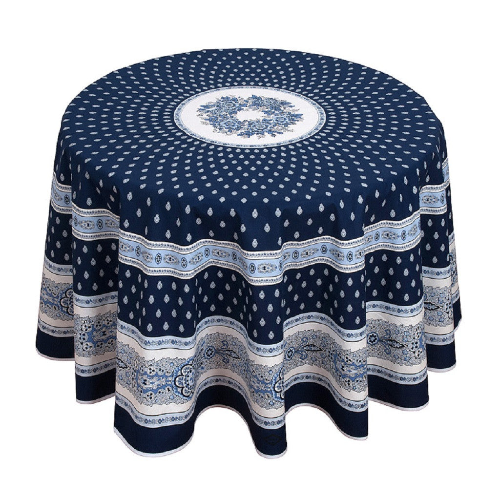 French Linen round cotton tablecloth in navy