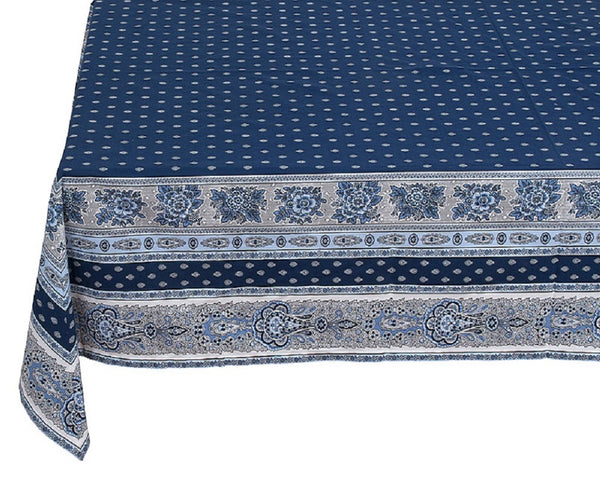 French Linen square cotton tablecloth in navy blue
