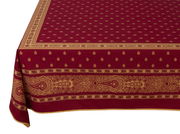 French Linen jacquard tablecloth in red/yellow
