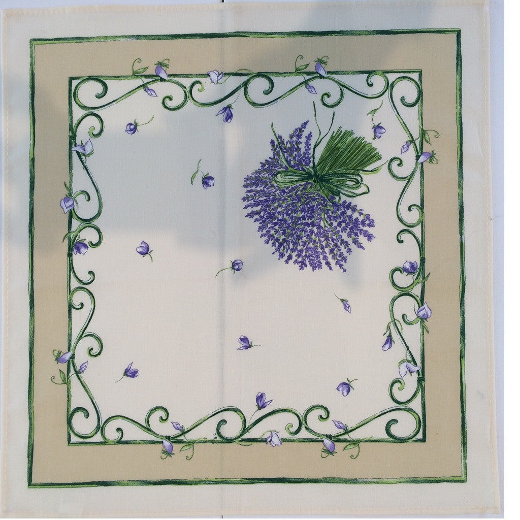french linen table napkin with lavender design