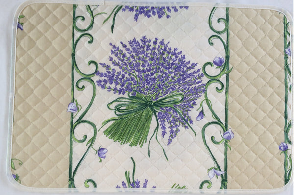 french linen placemat with lavender design in ecru