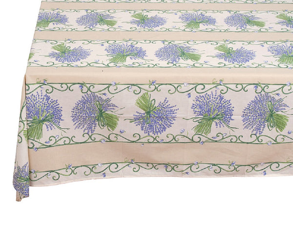 french linen rectangle tablecloth with lavender design in ecru