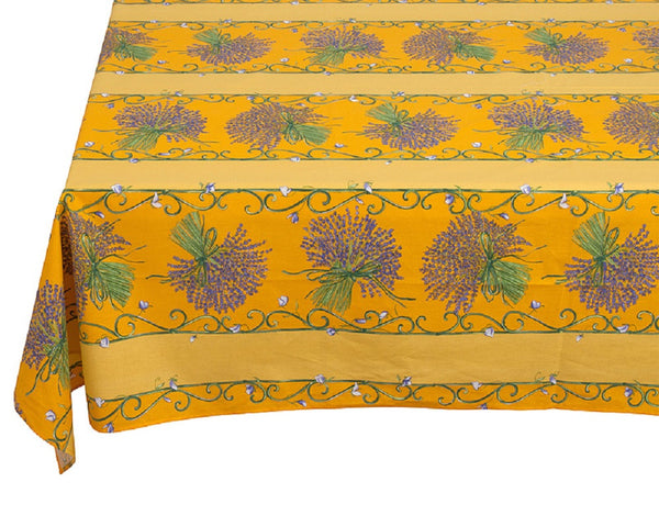 french linen rectangle tablecloth with lavender design in yellow