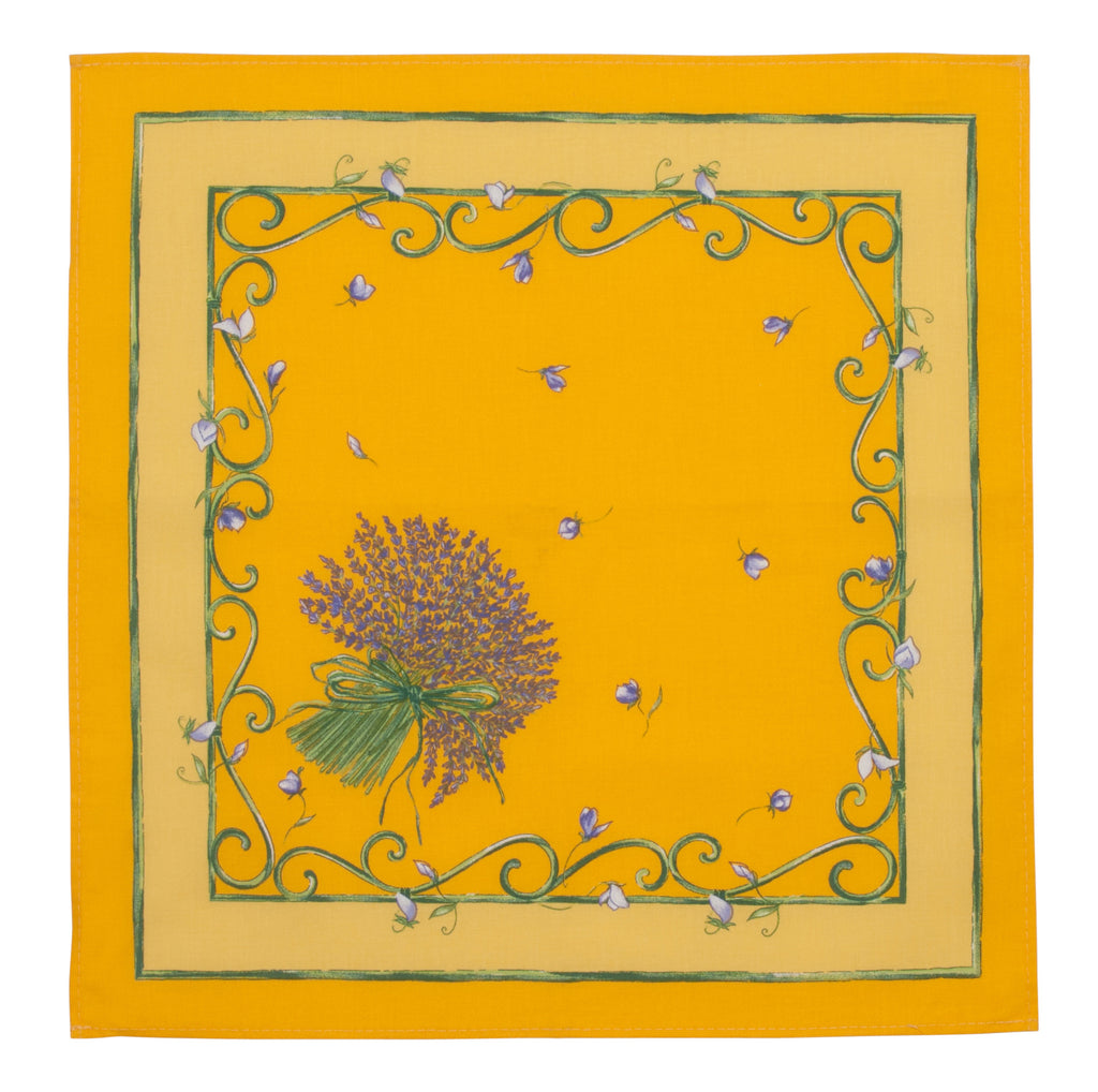 french linen table napkin with lavender design in yellow