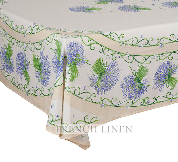 french linen rectangle tablecloth with placed pattern in ecru