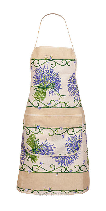french linen apron with lavender design in ecru