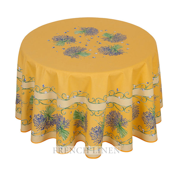"""Bouquet Lavande"" Round COATED Cotton Tablecloth"
