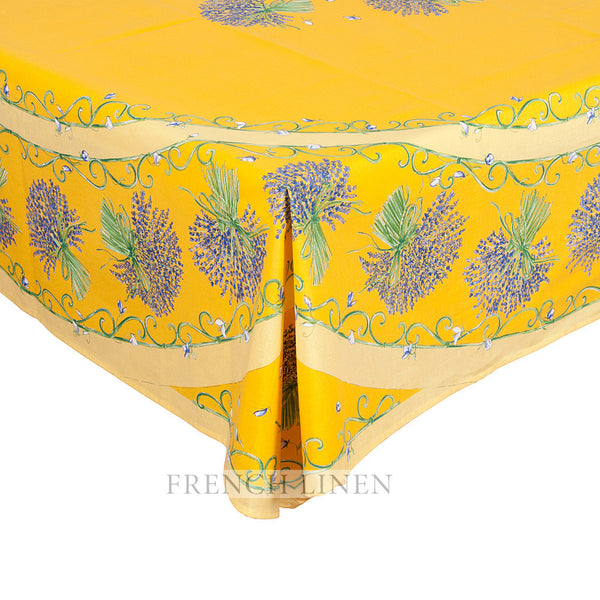 """Bouquet Lavande"" Rectangle COATED Cotton Tablecloth (Placed Pattern)"