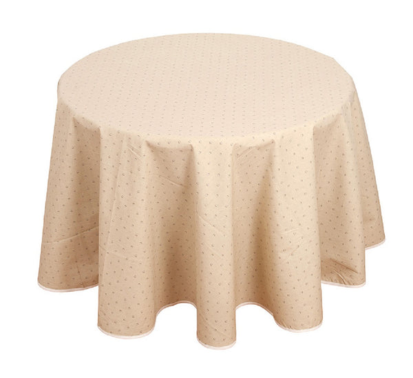 french linen round cotton tablecloth with traditional design in ecru