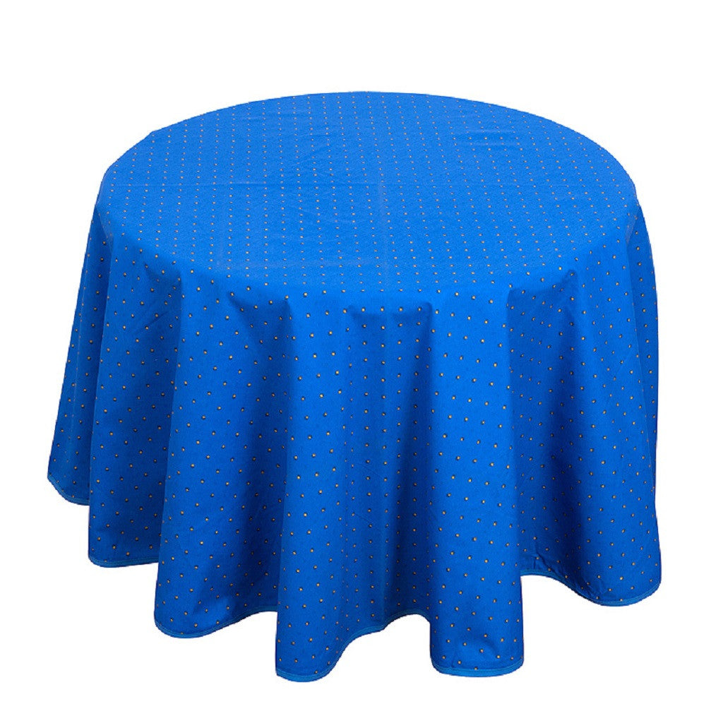 french linen round cotton tablecloth with traditional design in blue