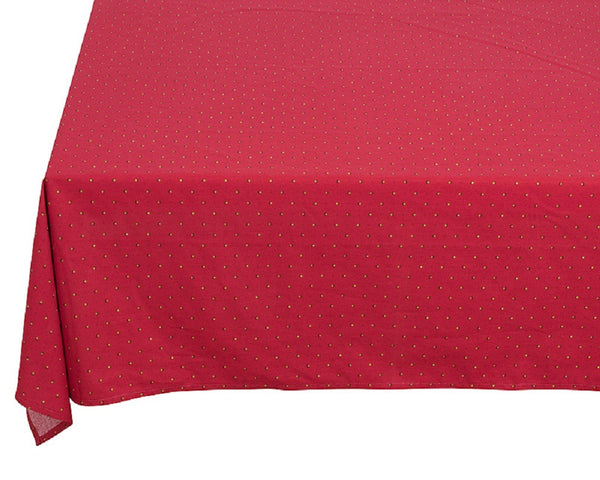 french linen rectangle tablecloth with traditional design in red