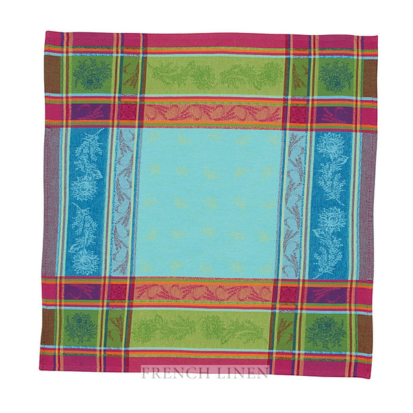 french linen jacquard table napkin in turquoise