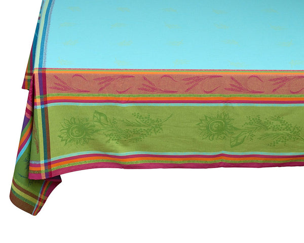 french linen rectangle jacquard tablecloth in turquoise