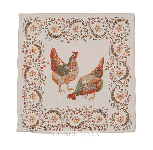 french linen square jacquard cushion cover with rooster design