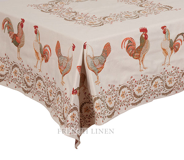 french linen square jacquard tablecloth with rooster design