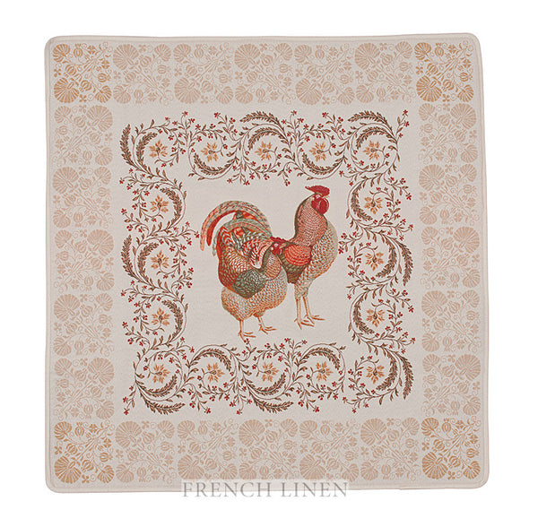 french linen jacquard table square with rooster design