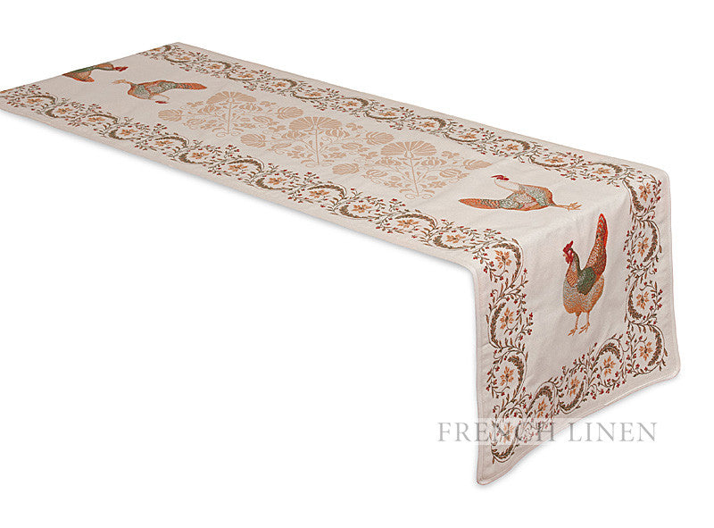 French Linen Jacquard Table Runner With Rooster Design