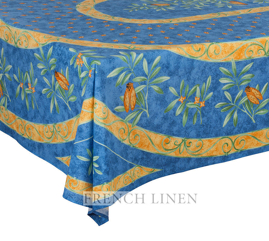 french linen rectangle tablecloth with a placed pattern featuring a cicada theme