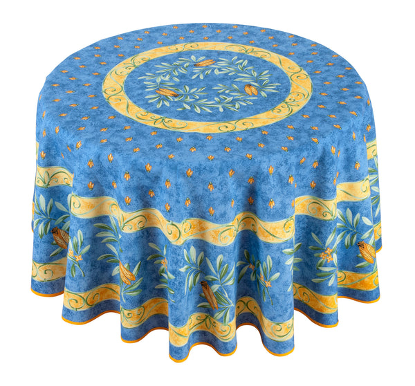 """Cigale"" Round COATED Cotton Tablecloth"