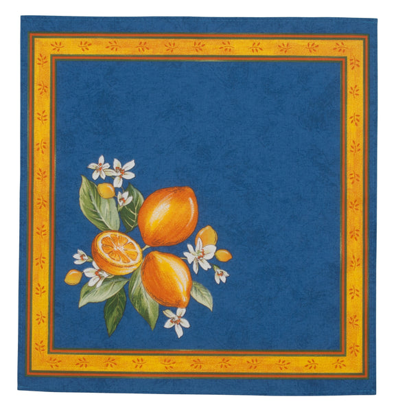 french linen cotton table napkin featuring citrus design