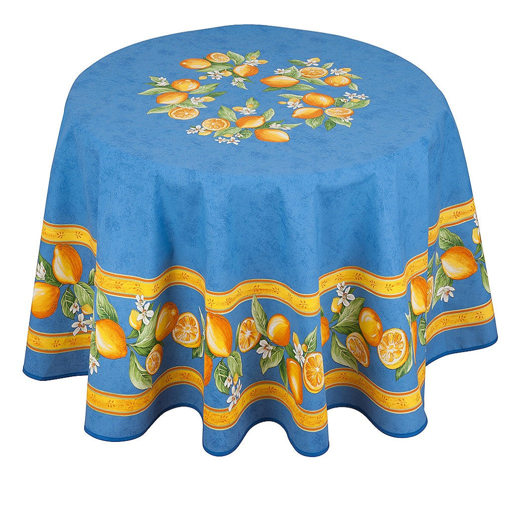 french linen round tablecloth with lemon design in blue