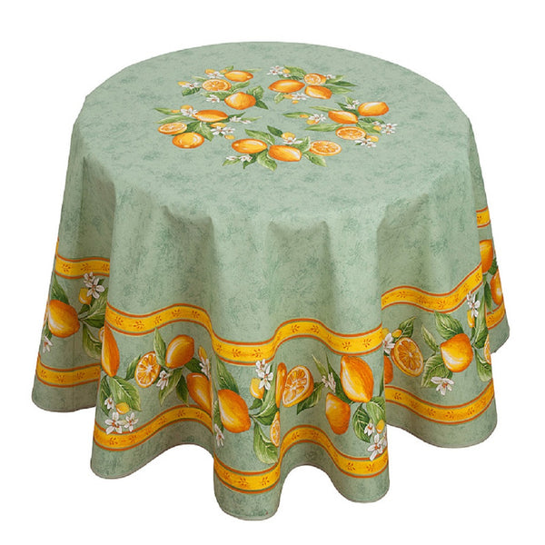 french linen round tablecloth with lemon design in green