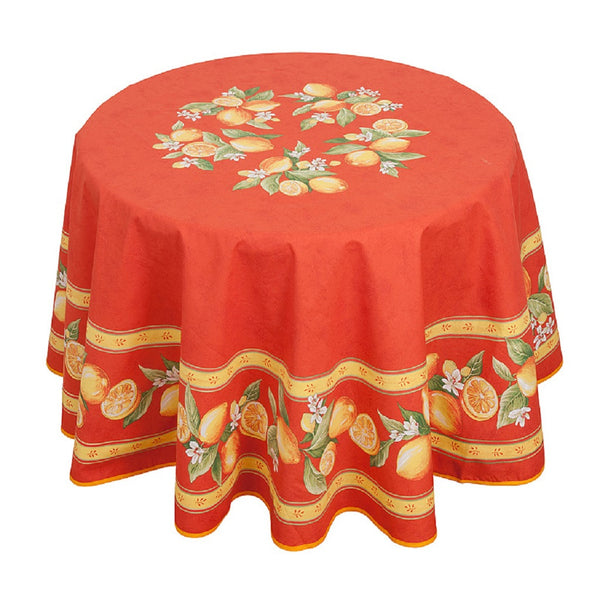 french linen round tablecloth with lemon design in orange
