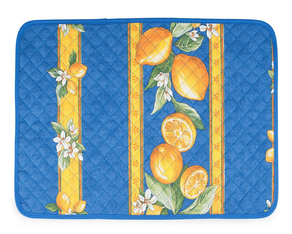 french linen cotton placemat with lemon design in blue
