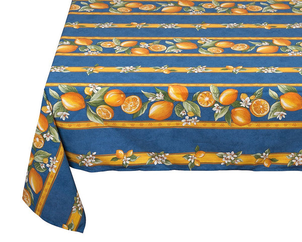 french linen coated rectangle tablecloth with lemon design in blue