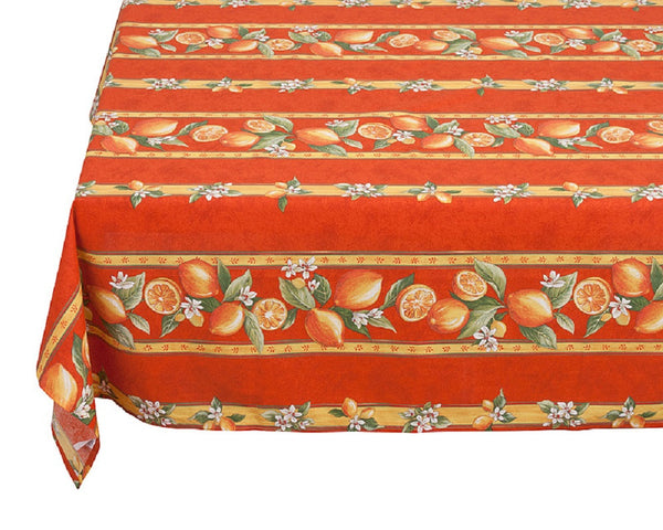 french linen rectangle tablecloth with lemon design in orange