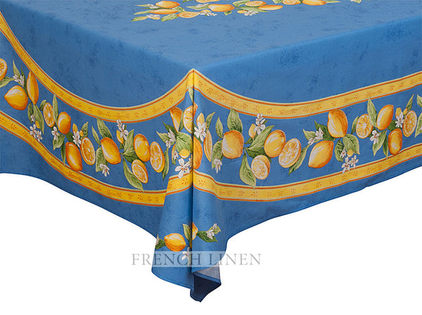 french linen rectangle tablecloth with lemon design in blue