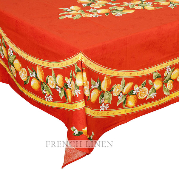 """Citron"" Rectangle COATED Cotton Tablecloth (Placed Pattern)"