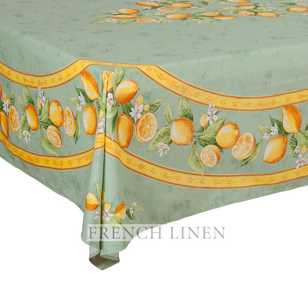french linen rectangle tablecloth with lemon design in green